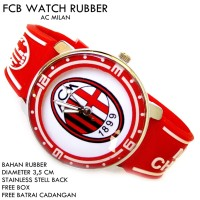 JAM TANGAN FCB BOLA CLUB FOOTBALL RUBBER AC MILAN