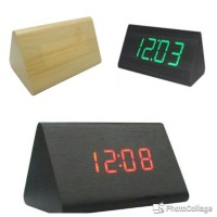 Jam Waker Kayu 828 / LED Digital Wood Clock - JK-828