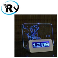 LCD Display Alarm Clock with Memo Board - 003 - White