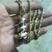 kalung liontin batu kecubung ungu serat unik ring naga