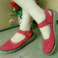 harga Sandal Sepatu Flat Wanita Cantik Merah Delima Tokopedia.com
