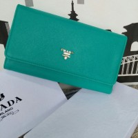 Dompet Import - Dompet Wanita - Dompet Branded Prada Flip Wallet Tosca