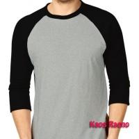 M tshirt kaos raglan polos o-neck two tone abu misty hitam