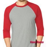 M tshirt kaos raglan polos o-neck two tone abu misty merah