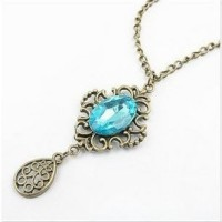 Kalung Fashion - Blue Crystal Hollow Vintage
