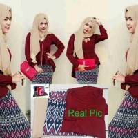 Jual Hijab Maroon Peplum Tribal Set 3in1 Murah