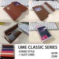 Ume Classic Leather Flip Casing Soft Cover Case Acer Liquid Z200 Z7