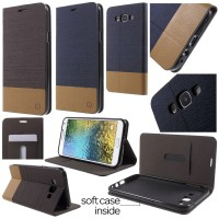 Jual Canvas Pocket Leather Flip Case Dompet Kulit Samsung Galaxy E7