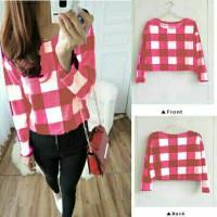 crop flannel top pink casual