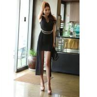 harga Baju Dress Pesta Korea Cotton Chiffon Hitam Ekor Elegan Import Tokopedia.com