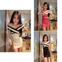 baju dress gaun korea mini putih hitam pink seksi import
