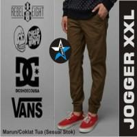 Celana Jogger Pants XXL Man Warna Marun / Coklat tua Big size Keren