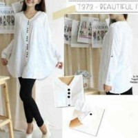 Ef5470 T373 white bahan katun rayon Ld=92 Pj=74 fit to L(kancing full
