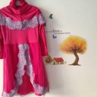 Baju Gamis Syari / Pakaian Lebaran renda brukat + jilbab / kerudung