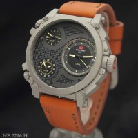 Swiss Army SA2216 Triple Time (BRGRY) Leather