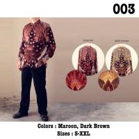 XL Kemeja Batik Semi Sutra Lengan Panjang Pria Modern