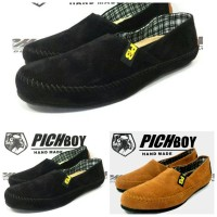 Sepatu slop slip on casual pichboy hitam coklat tan
