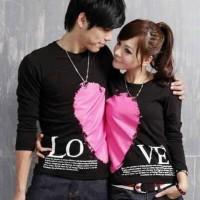 harga Couple Lp Love Valentine Hitam / Baju Pasangan / Koko / Gamis / Kemeja Tokopedia.com