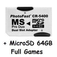 PhotoFast + MicroSD 64GB Full Games for PSP (Memory Stick Pro Duo)