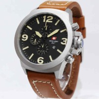 Swiss Army 2016 Silver Brown Leather