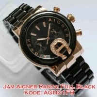 AGN01FB Jam Tangan Wanita Aigner Rantai Full Black Ladies Watch