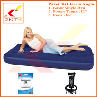 "Kasur Angin Single + Pompa Tangan 12"" + Lem (Bestway)"