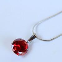 harga Kalung Liontin Batu Diamond Merah Emerlad Titanium Silver Impor Tokopedia.com