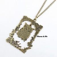 Kalung Korea Catholic Bronze Vintage Photo Frame Owl Pendant Alloy