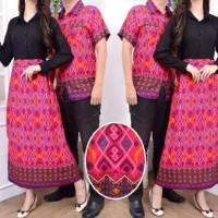 Couple Hanaya Tosca/purple/orange/violet Long Dress Maxi + Kemeja Pria