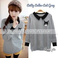harga Model Baju Korea - Cuttie Cat Collar Blouse Tokopedia.com
