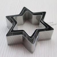 Set Cetakan Aluminium 3-Ukuran Bentuk Bintang 6-Sudut (1 Set Isi 3)