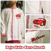 Baju koko sarung anak SD size XL ( 9-10 thn) karakter CARS MERAH