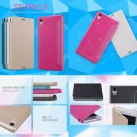 harga Jual Nillkin Sparkle Leather Flip Book Cover Case Sony Xperia M4 Aqua Tokopedia.com