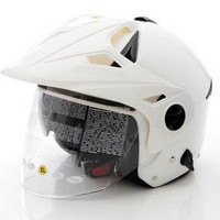Zeus Helm Half Face Double Visor ZS-612C Polos - Putih - XL