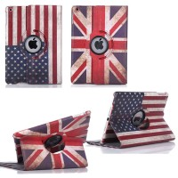 Rotating iPad 2|3|4 England/America Flag Style Leather Stand Case