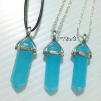 Natural Blue Jade Crystal Point Pendant  Choker Necklace