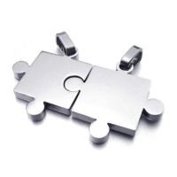 Kalung Silver Stainless Steel Couple Jigsaw Puzzle Necklace