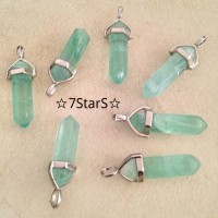 Natural Green Fluorite Crystal Point Pendant Choker Necklace