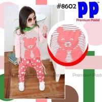 SALE baju anak import kode FD 186, size 3,4,5,6,7y, stelan pink bear