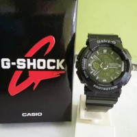 Baby G New dualtime BA-110 Hitam list Abu