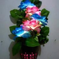 harga Lampu Dinding Unik Bunga Mawar Pink & Biru 5 Tangkai Tokopedia.com