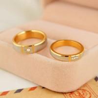 Jual 1 Pasang Cincin + Kotak Cincin Couple High Quality Kode CC-003 Murah