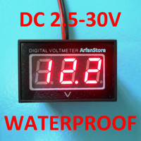 Waterproof Digital Volt Meter DC: 2.5V-30V Voltmeter LED Display Merah