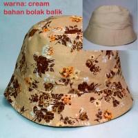 topi bucket hat krem / cream / topi bulat / bunga floral