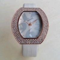 Jam Tangan Wanita / Cewek Gucci Leather 963 / Kulit Putih