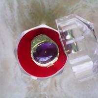 Cincin batu kecubung ungu natural berserat halus tembus ring silfer