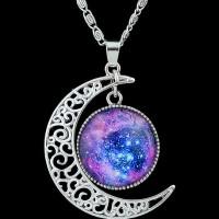 Moon Necklace Galaxy Universe ~ Kalung Bulan Batu