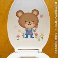 Stiker Dinding / Kloset Duduk Motif Beruang dan Bu