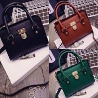 tas korea fashion hermes hijau coklat hitam kulit import gembok unik