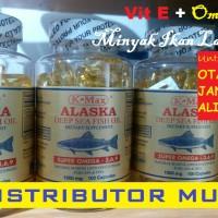 Tutup Putih, Minyak Ikan Lautan ALASKA K-MAX Omega 3, 6, 9, Vitamin E